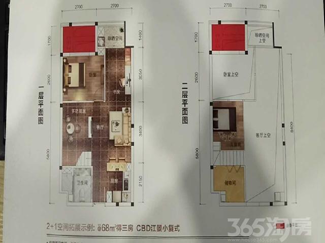 联泰香域水岸3室1厅1卫68�O2017年简装3房一线江景