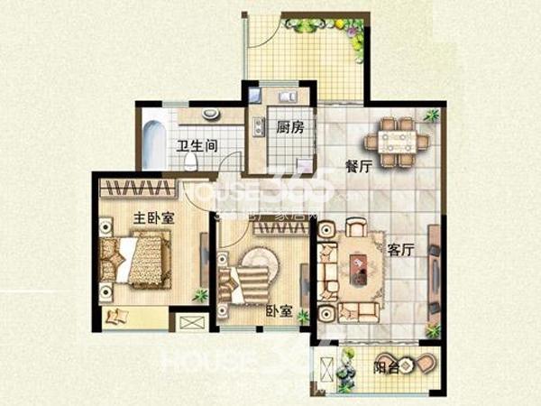 二期19#楼88平米户型-两室两厅一厨一卫