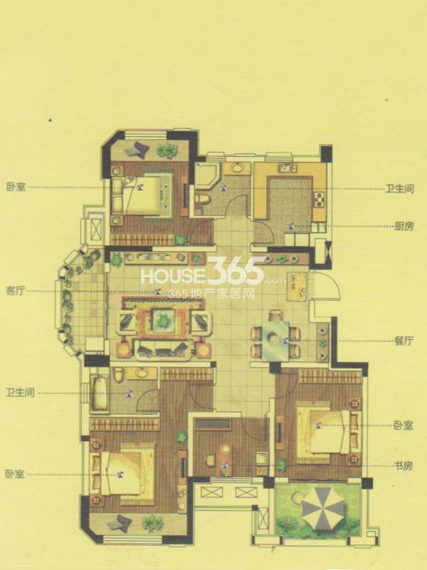 12#楼GD1户型-四室两厅两卫 126平