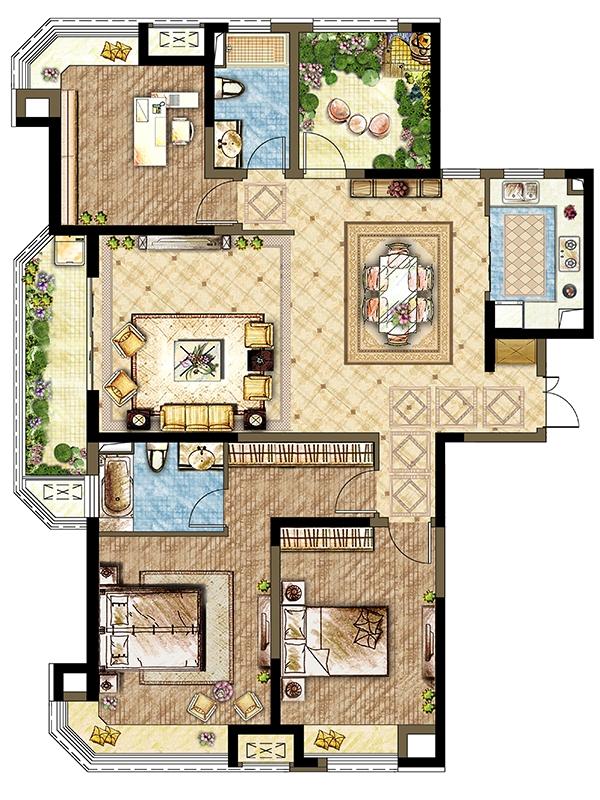 7#8#楼B1户型-四室两厅两卫 162平