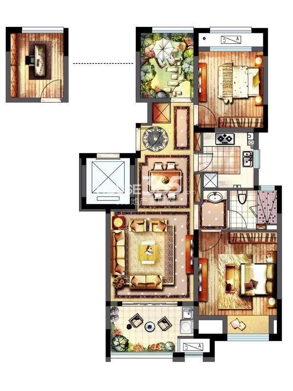 新城春天里洋房户型 三室两厅一厨一卫 88平