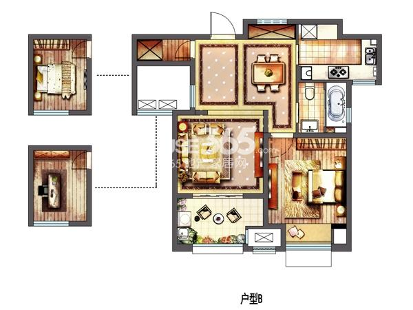 新城春天里高层B户型 两室两厅一卫 75平