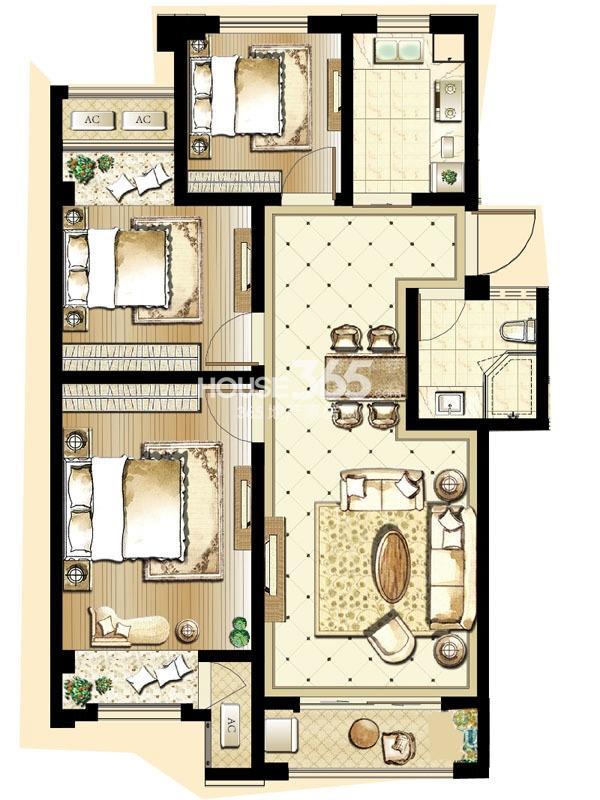 印象欧洲 三期标准层DG2户型3室2厅1卫1厨 95.00㎡
