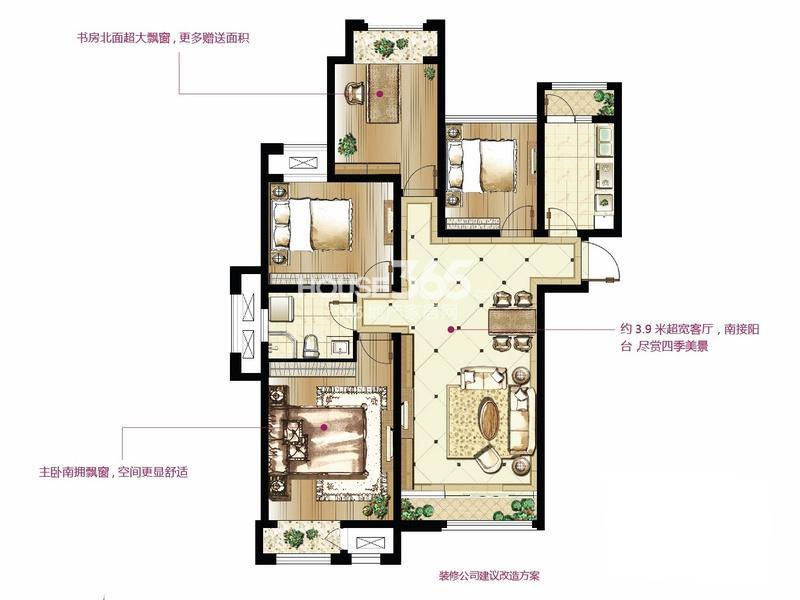 印象欧洲 标准层G5户型4室2厅1卫1厨 108.00㎡