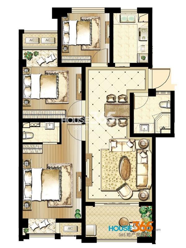 印象欧洲 三期标准层DG3户型3室2厅2卫1厨 96平