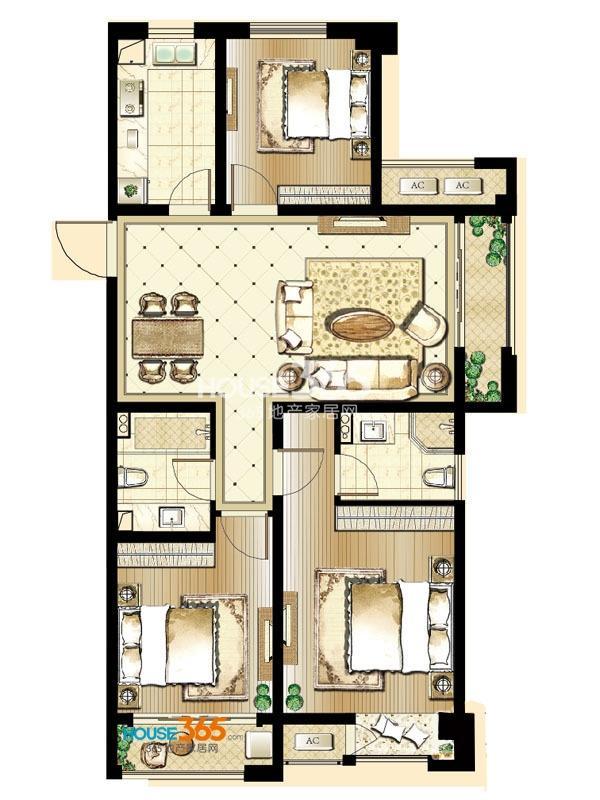 印象欧洲 三期标准层DG4户型3室2厅2卫1厨 104平