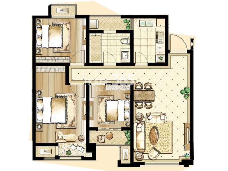 印象欧洲 三期标准层DG1户型3室2厅1卫1厨 94.00㎡
