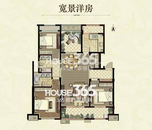 九龙仓碧堤半岛洋房 B户型3房2厅2卫1厨+空中花园 140平