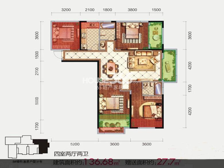 隆源国际城8号楼A4户型4室2厅2卫1厨 136.68㎡