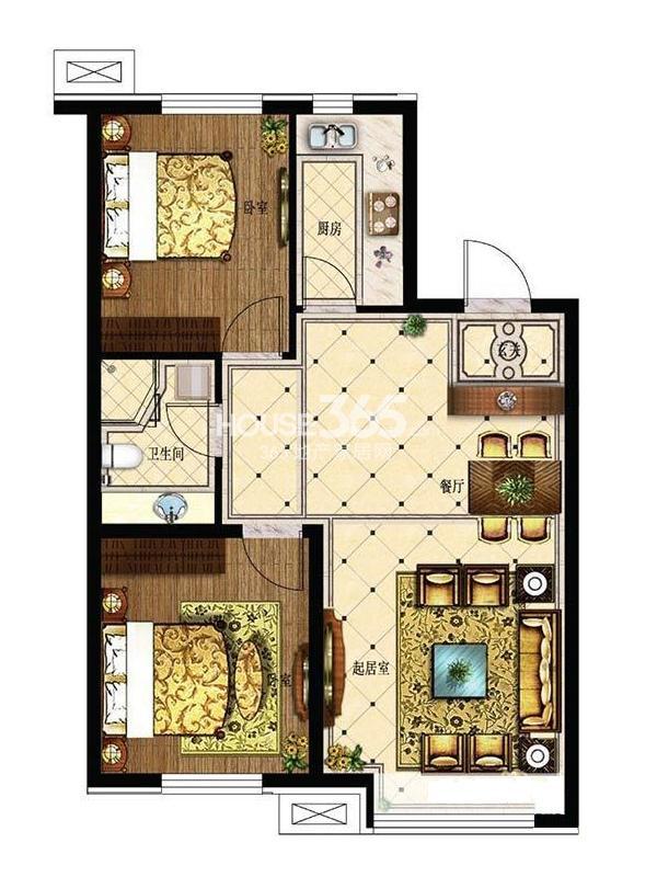 其仕盛和祥户型图二室二厅一卫83平米