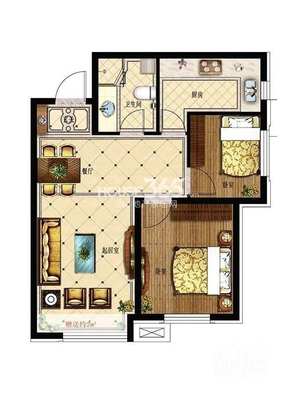 其仕盛和祥户型图二室二厅一卫74平米