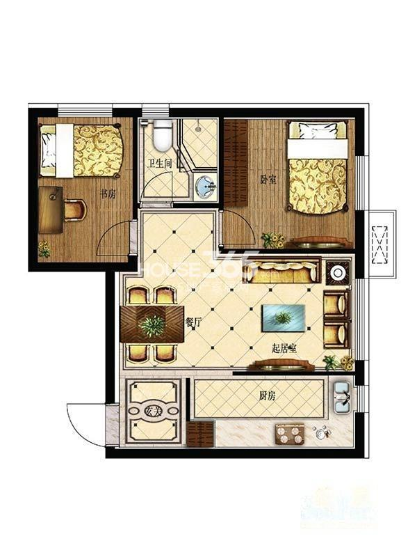 其仕盛和祥户型图二室二厅一卫61平米