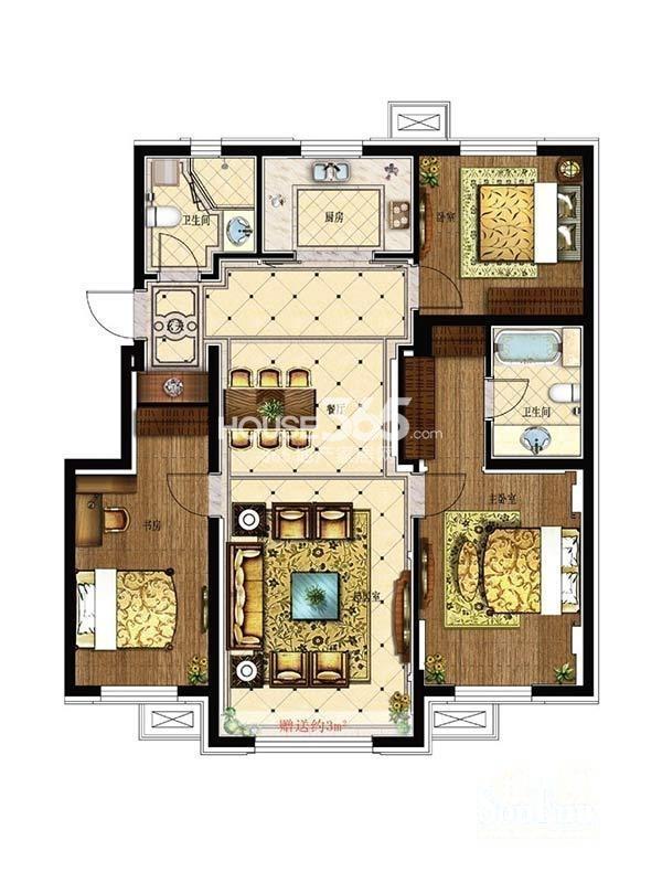 其仕盛和祥户型图三室二厅二卫117平米