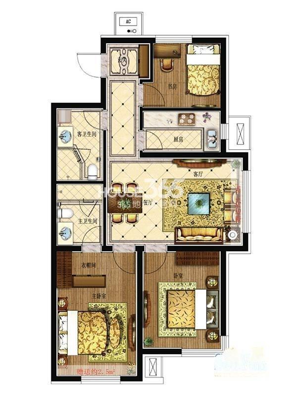 其仕盛和祥户型图三室二厅一卫99平米