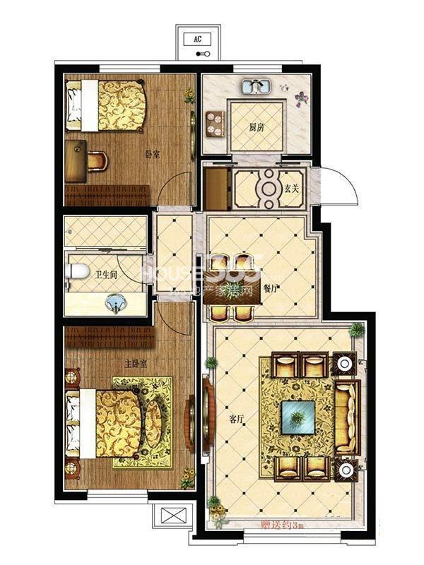 其仕盛和祥户型图二室二厅一卫91平米