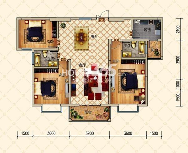 恒基名仕公馆户型图 2栋B户型 三室两厅两卫 建筑面积约124.77