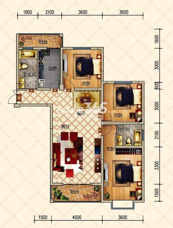 恒基名仕公馆户型图 1号C户型 三室两厅两卫 建筑面积约132.4