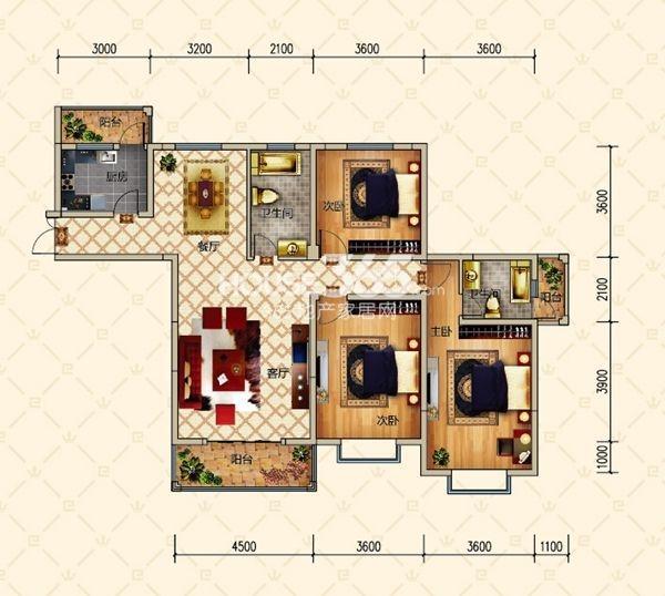 恒基名仕公馆户型图 2栋C户型 三室两厅两卫 建筑面积约140.85