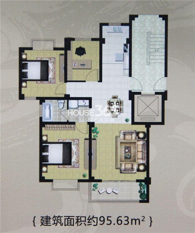 户型图 95平米两居室户型 95