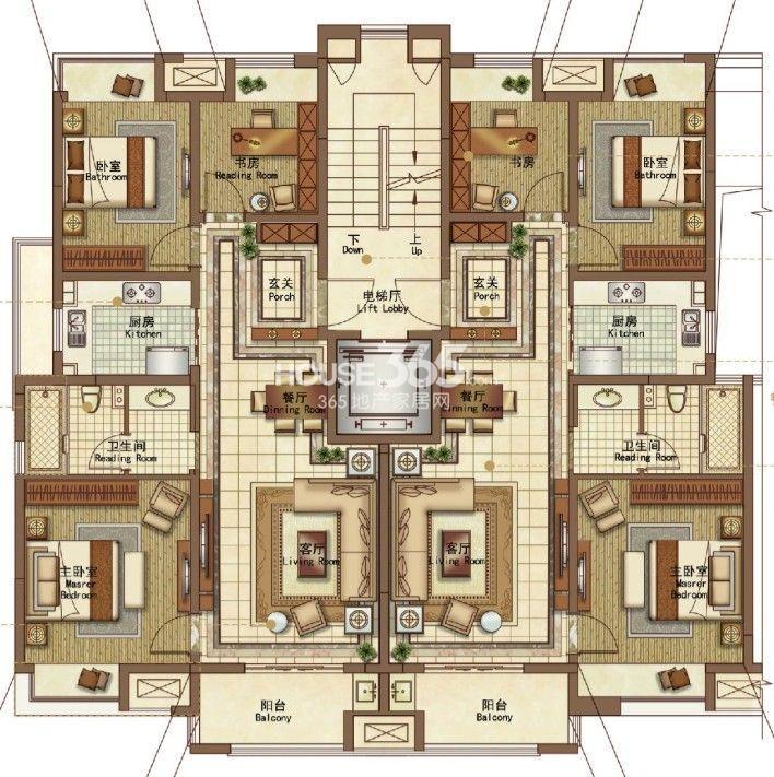 户型图 3室2厅1卫95