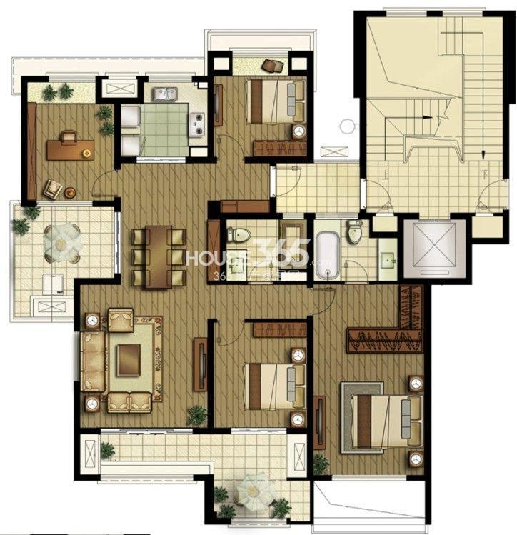 户型图 洋房二楼边户 142