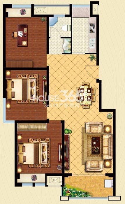 户型图 C2户型 建筑面积约109平米 三房两厅一卫 109
