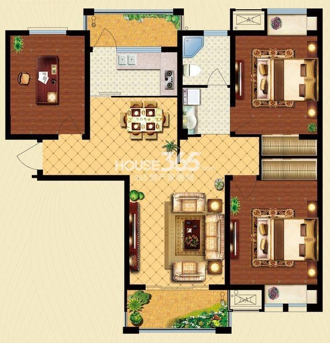 户型图 C3户型 建筑面积约112平米 三房两厅一卫 112