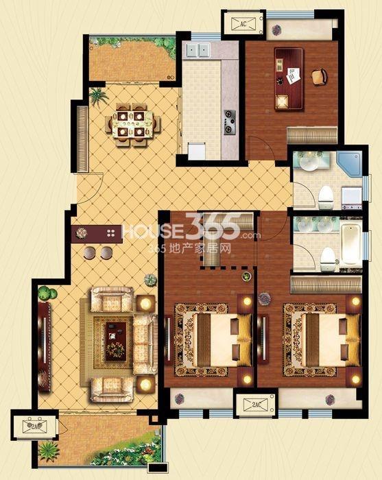 户型图 C4户型 建筑面积约130平米 三房两厅两卫 130