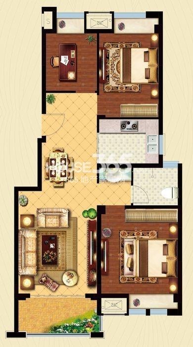 户型图 C1户型 建筑面积约95平米 三房两厅一卫 95