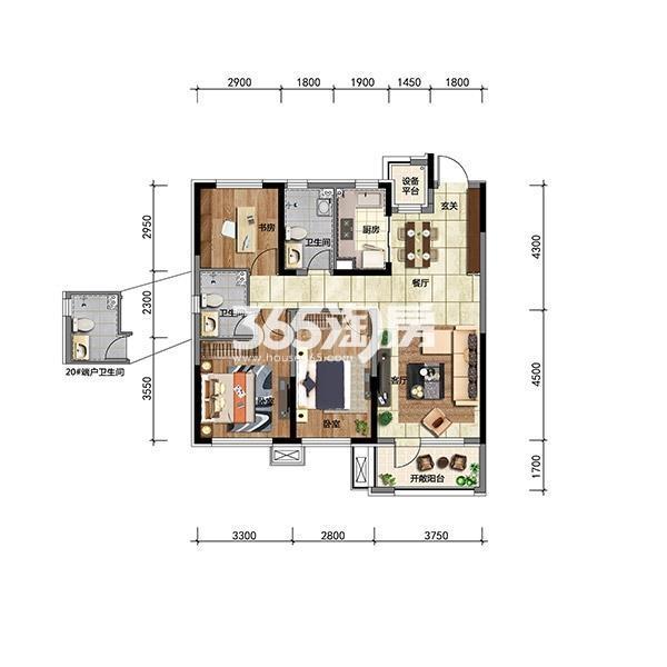 华润翡翠城高层100平三房端户