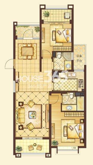 户型图 皇家花园112平米两房两厅两卫户型图 112