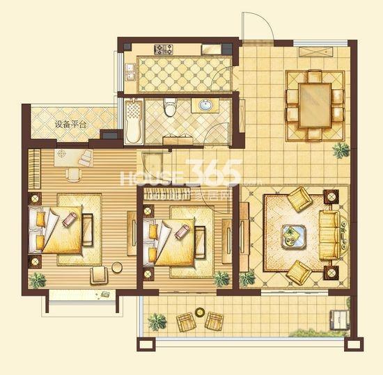 户型图 皇家花园97平米两房两厅一卫户型图 97
