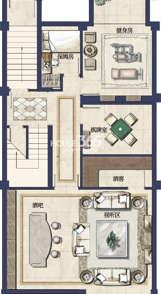 户型图 御园 B户型 245平米-负1层
