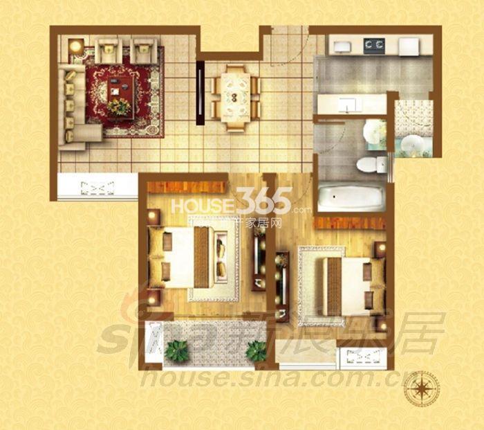 户型图 G-03户型2室2厅1厨1卫 84