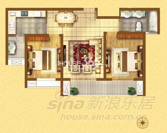 户型图 G-02户型2室2厅1厨1卫 87