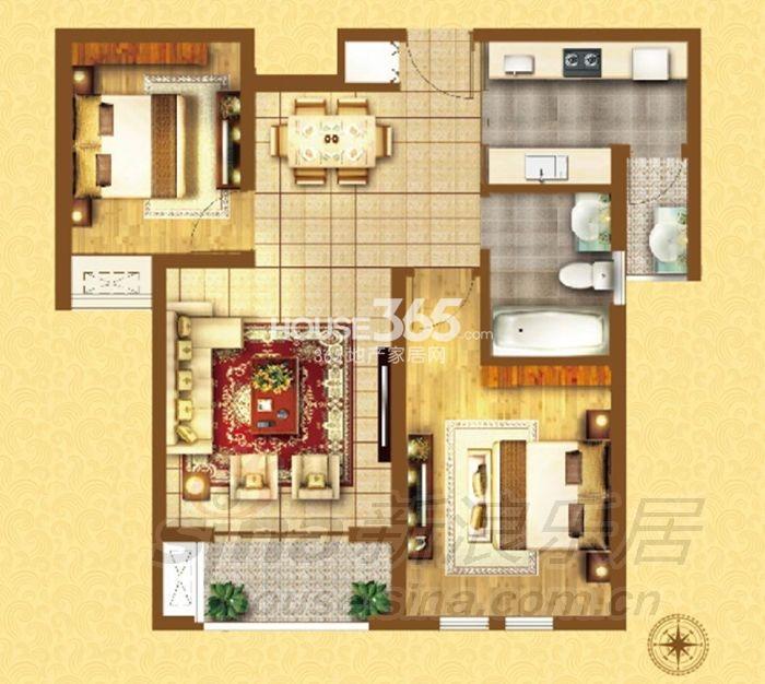 户型图 G-01户型2室2厅1厨1卫 83