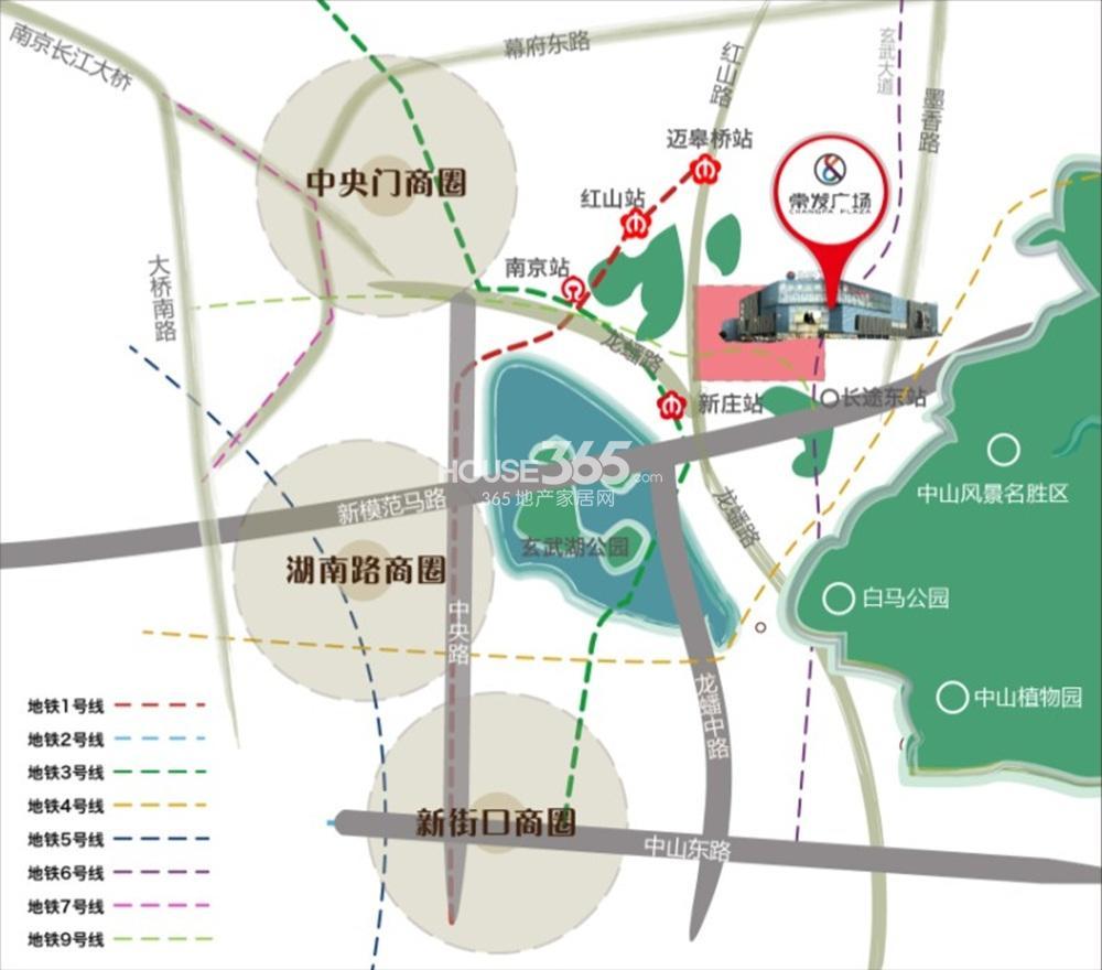 玄武常发广场交通图