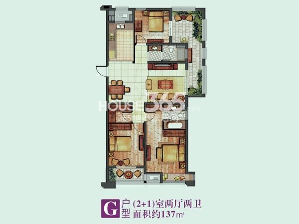 绿地香颂花园G户型 (2+1)室两厅两卫