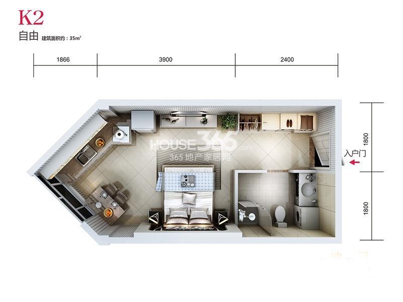 天朗蓝湖树三期31#楼K2户型1室1卫1厨 35.00㎡