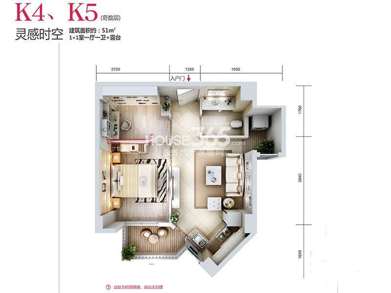 天朗蓝湖树三期31#楼K4/K5-01户型2室1厅1卫1厨 51.00㎡