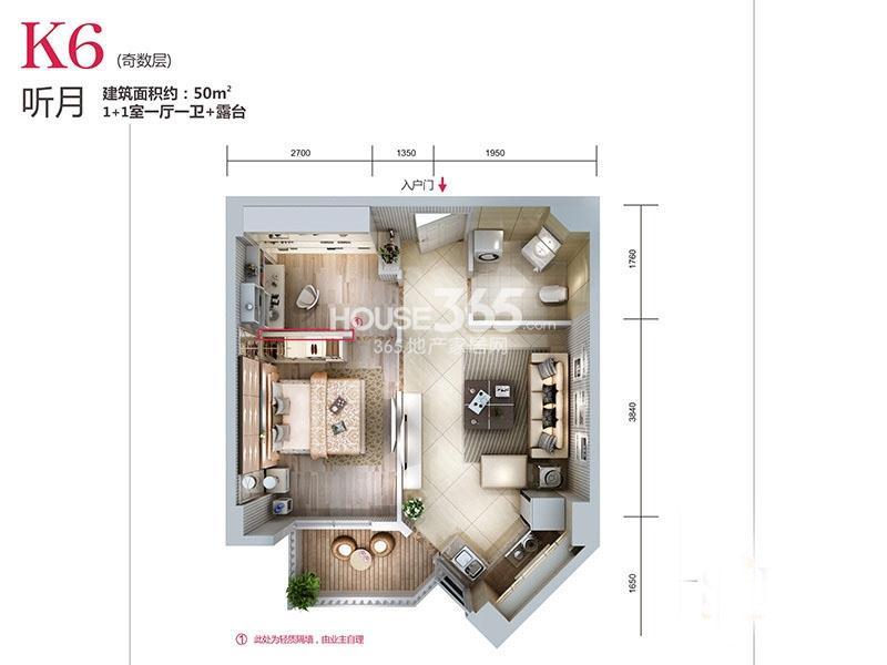 天朗蓝湖树三期31#楼K6-01户型2室1厅1卫1厨 50.00㎡