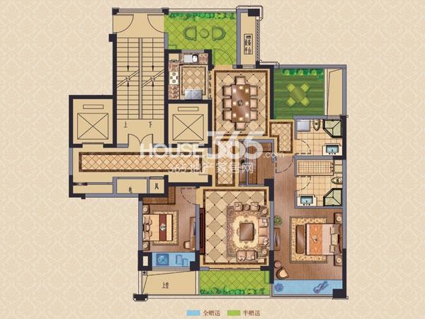 绿城玉兰广场诚园G1户型,两房两厅两卫+空中花园