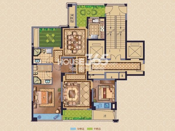 绿城玉兰广场诚园H1户型  两房两厅两卫+空中花园