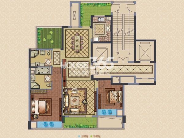 绿城玉兰广场诚园D2户型  两房两厅两卫+空中花园