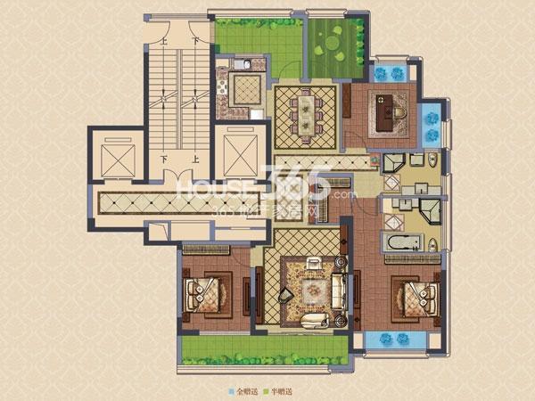 绿城玉兰广场诚园E1户型  三房两厅两卫+空中花园