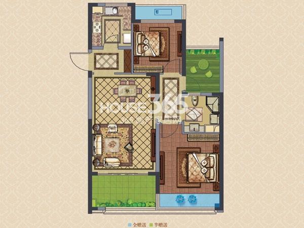 绿城玉兰广场诚园A3户型  两房两厅一卫+空中花园