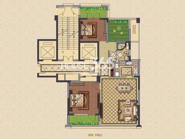 绿城玉兰广场诚园C2户型  两房两厅一卫+空中花园