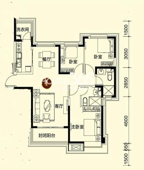 恒大御景湾1#3户型3室2厅2卫 125.00㎡