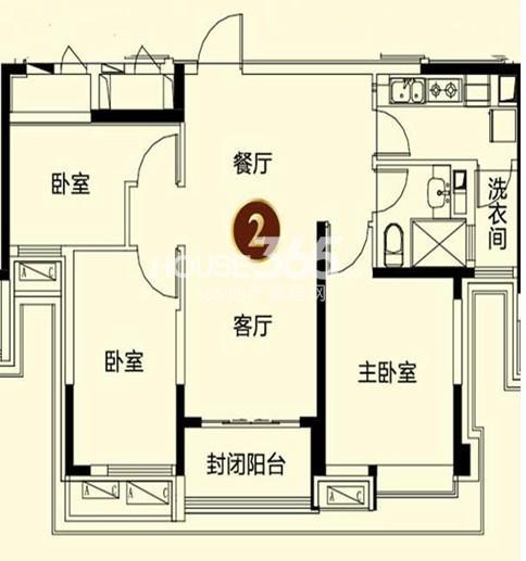 恒大御景湾1#2户型3室2厅1卫 105.00㎡