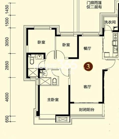 恒大御景湾3#3户型3室2厅2卫 121.00㎡
